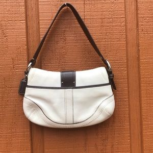 Coach Bags - Coach Vtg White & Brown Leather Hobo Buckle Bag